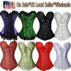 Brocade Woman Lace Up Boned Overbust CORSET Wedding Floral Bustier Size S-6XL B4