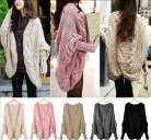 UK New Ladies Batwing Top Poncho Knit Cape Cardigan Long Sleeve Coat Knitwear