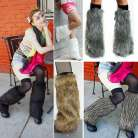 Boot Cuff Fluffy Soft Furry Faux Fur Leg Warmers Boot Toppers Costume Cosplay OS